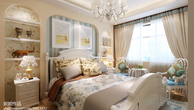 热门102平米三居卧室地中海欣赏图片大全