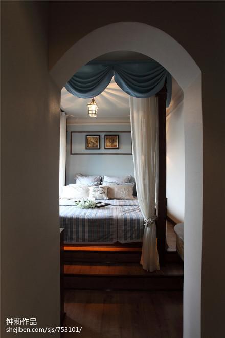 精美74平米二居卧室田园装饰图片