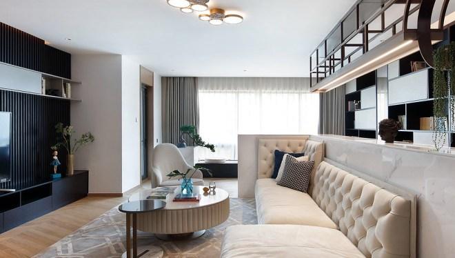 热门面积135平别墅客厅中式装修图